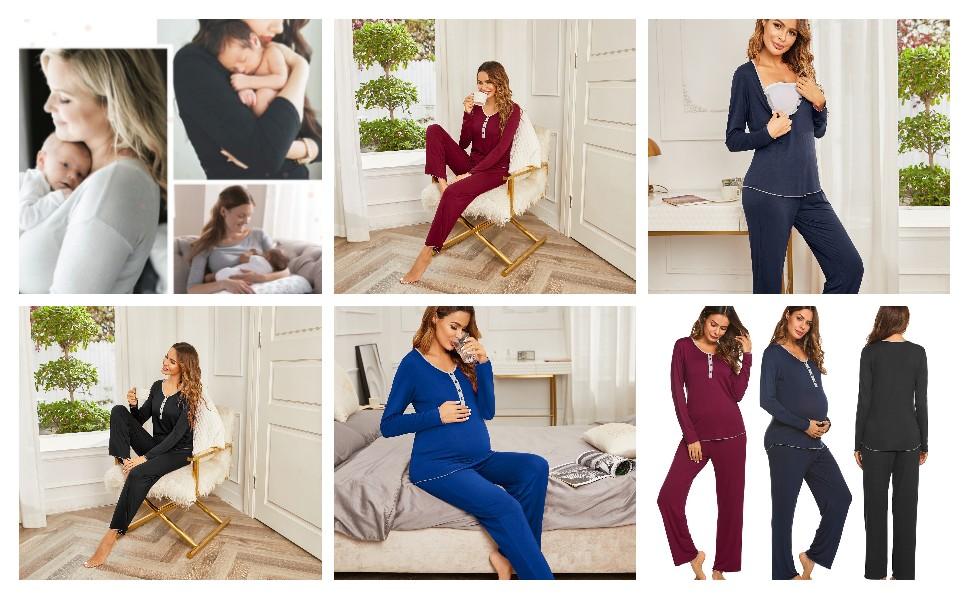 Women's Maternity Nursing Pajamas Pants Set Soft Pregnancy Breastfeeding PJ Set Sleepwear