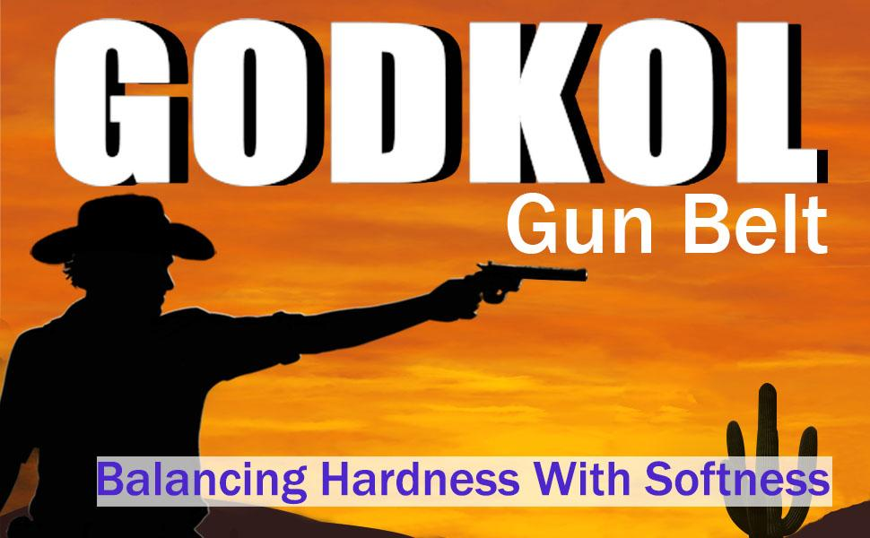 GODKOL Leather Gun Belt with Steel Core, Gun Belts for Men, Tactical Concealed Carry Belt CCW