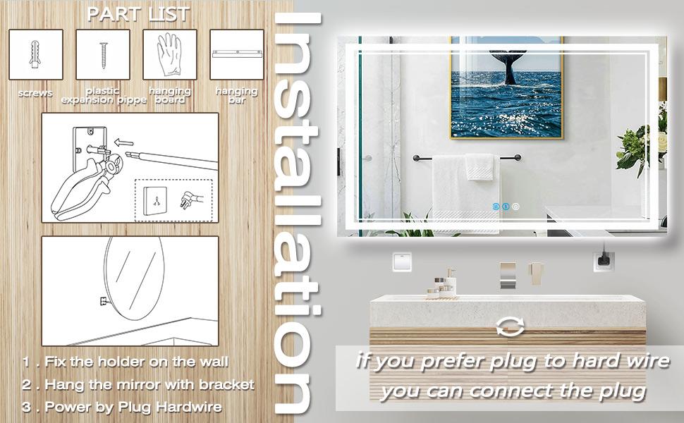 48 x 32 Inch Bathroom LED Mirror