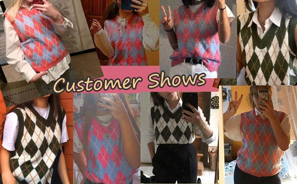Women's V-neck Knitted Sweater Vest Argyle Plaid Preparatory Style Sleeveless Crop Knit Vest