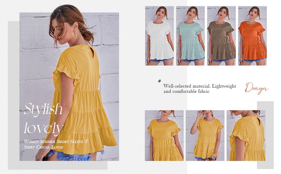 Women Summer Short Sleeve T Shirt Casual Loose Swing Ruffles Hem Peplum Babydoll Tops