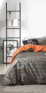 orange gray striped duvet cover