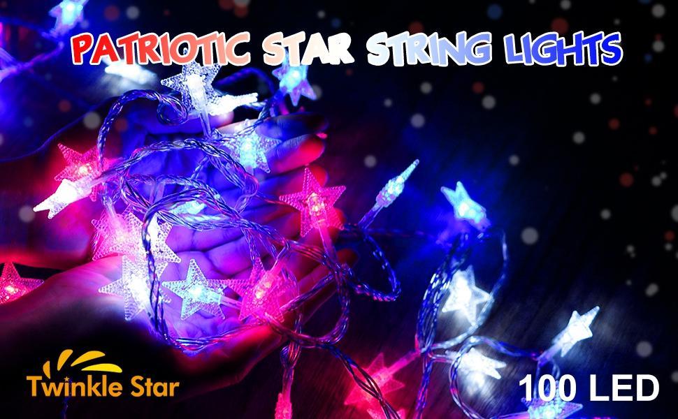 Patriotic Star String Lights
