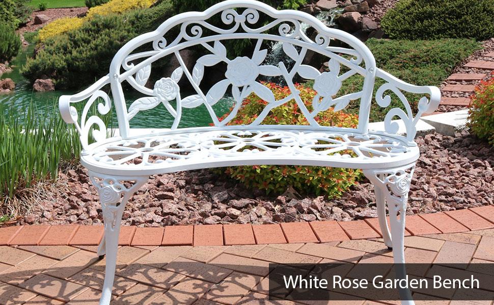 2-Person Classic Rose Cast Aluminum White Garden Bench