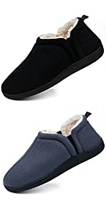 slippers for men cozy memory foam closed back house shoes with plush sherpa fleece lining anti-skid