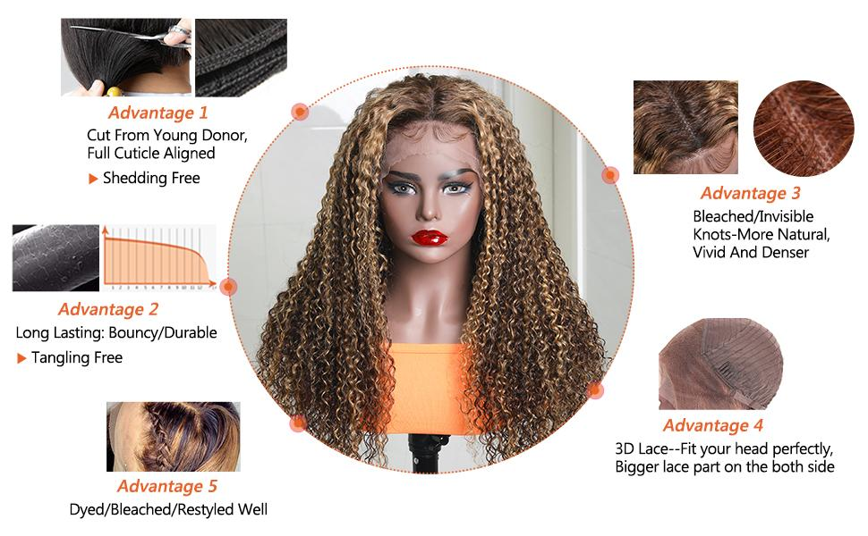 Jerry Curly Human Wigs With Baby Hair 150% Density