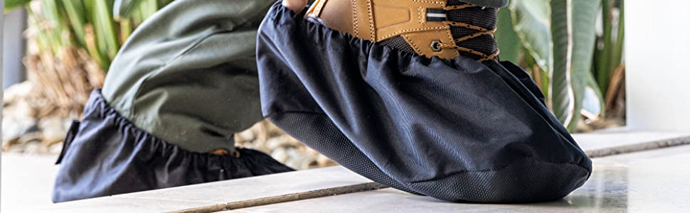 YANKIRRI boot covers easily fit over work boots