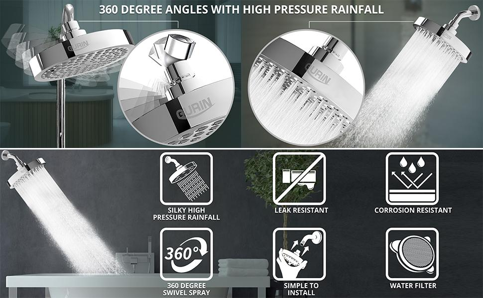 Gurin Products 360 degree angle with high pressure rainfall shower head replacement, various angles
