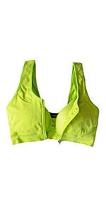 lime green zipper sports bra for post surgery