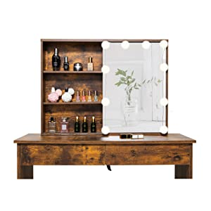 makeup table with 5 shelves