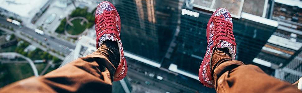 red skateboard sneaker shoes