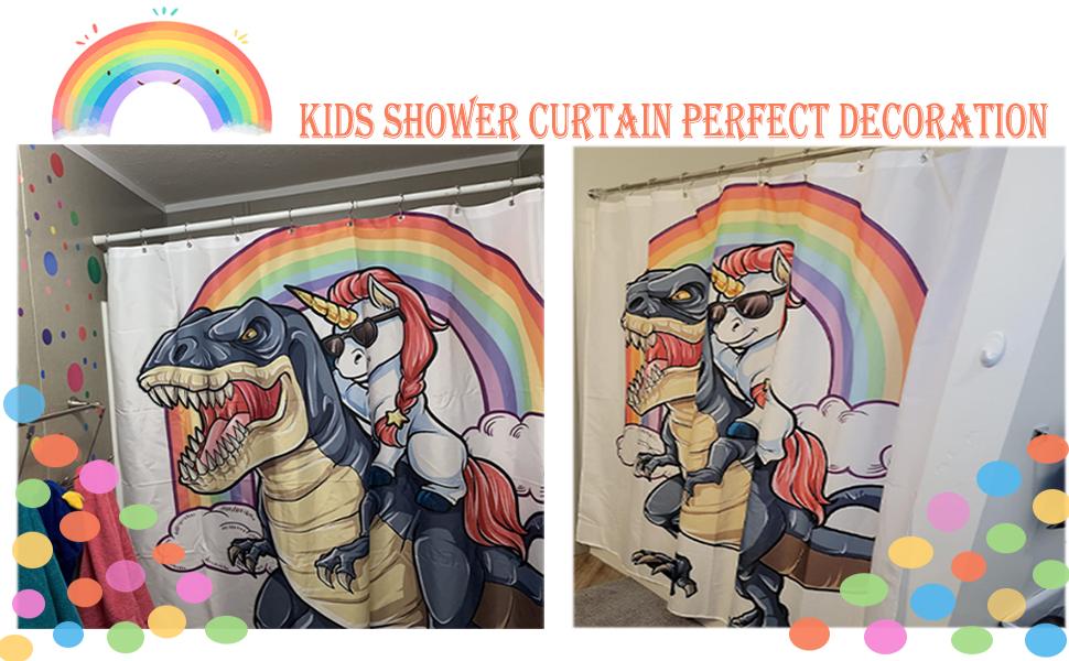Unicorn Riding Dinosaur Shower Curtain