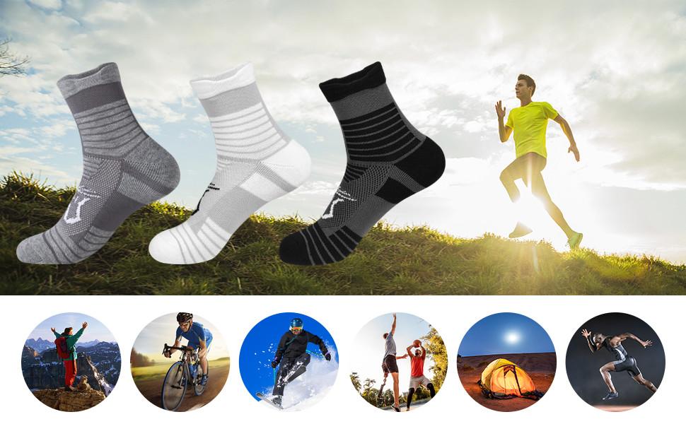 Wicking Cushioned Outdoor Sports Hiking Trekking Crew Socks