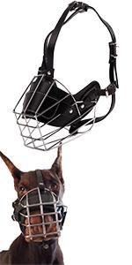 black metal dog muzzle