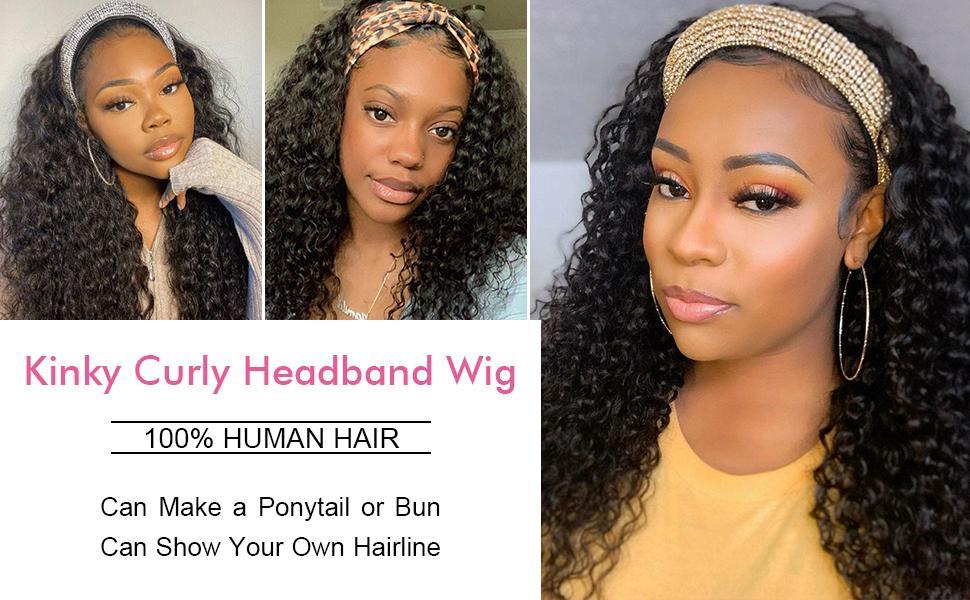 kinky curly headband wigs