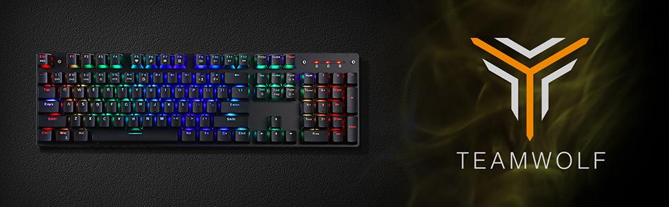 keyboard with teamwolf logo