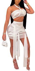 see through mesh skirt sets