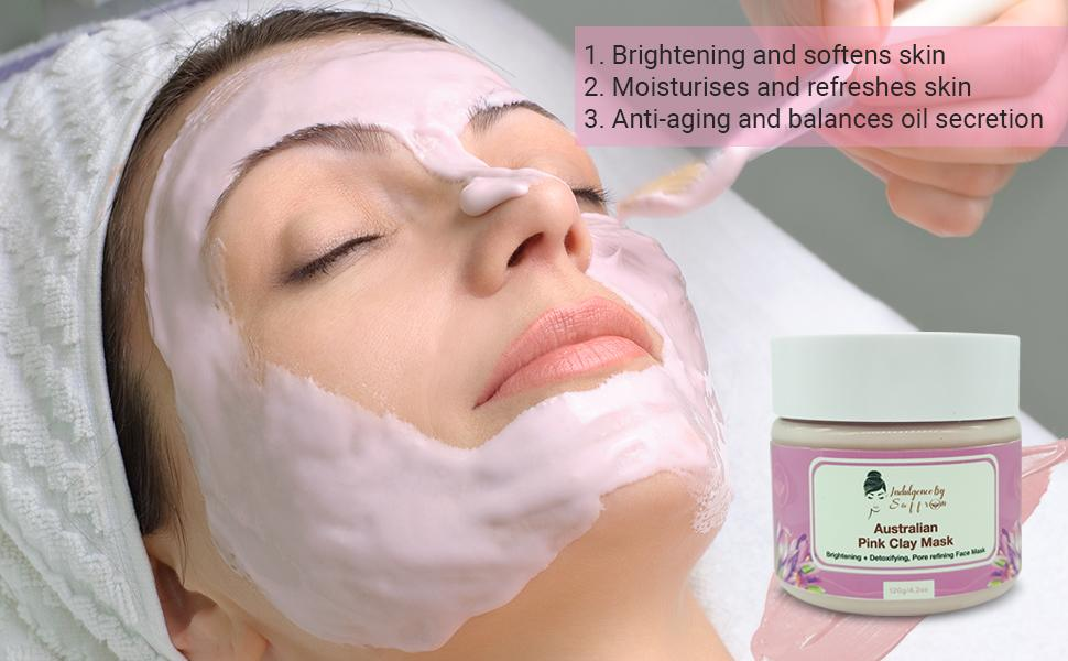 model using pink clay mask by Indulgence by Saffron