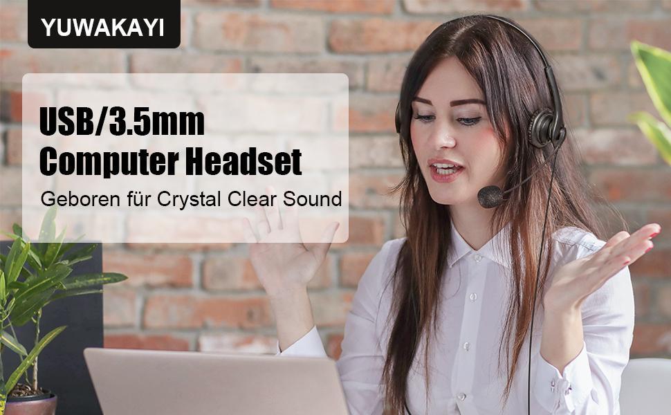 YUWAKAYI Headset mit Mikrofon