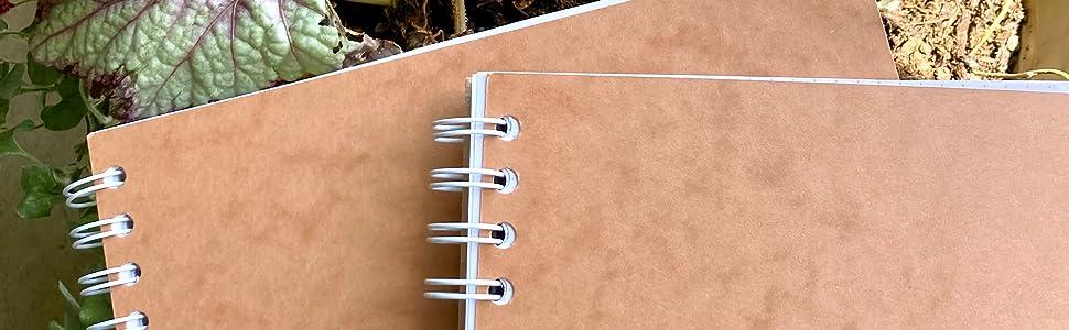 Unruled notebook on a desk