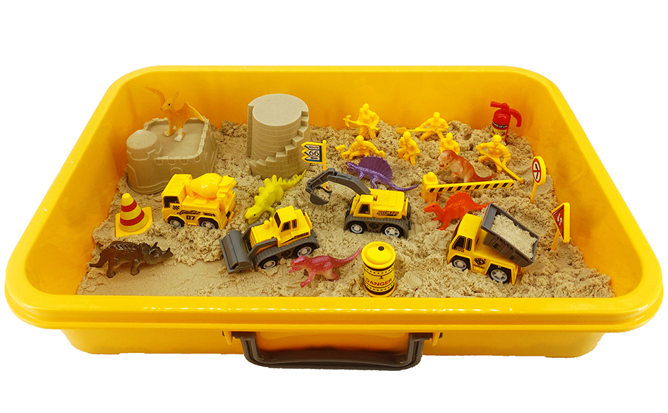 Amazon.com: INvench Construction Dinosaur Play Sand Set - 38 Pieces Sensory  Bin Sand Kit Include 2 lbs Magic Sand, Construction Vehicle, Dinsoaur  Figures, Dinosaur & Castle Molds for 3 4 5 Year