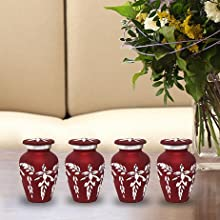 Red Rose Urns Set of 4