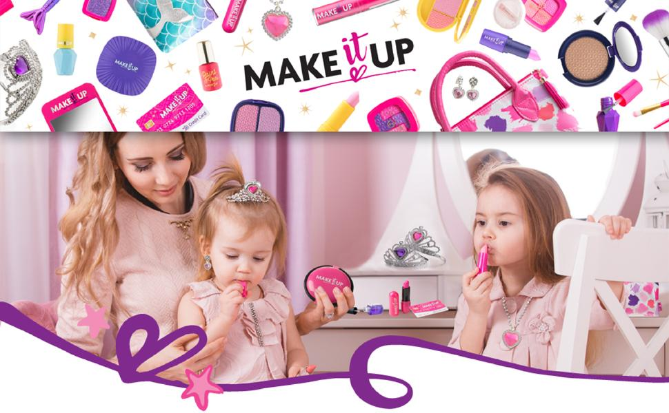 Mom and Daughter's Applying Makeup