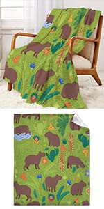 Green with Capybaras Throw Blanket Super Soft Warm and Comfortable