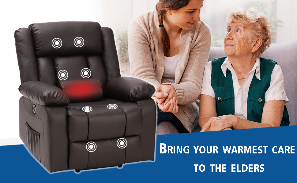 power lift recliner chair leather brown for elders