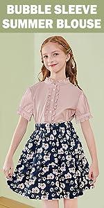 girls bubble-sleeve summer blouse