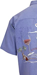 Bamboo Cay Relax and Unwined Embroidered Short Sleeve Button-down Shirt