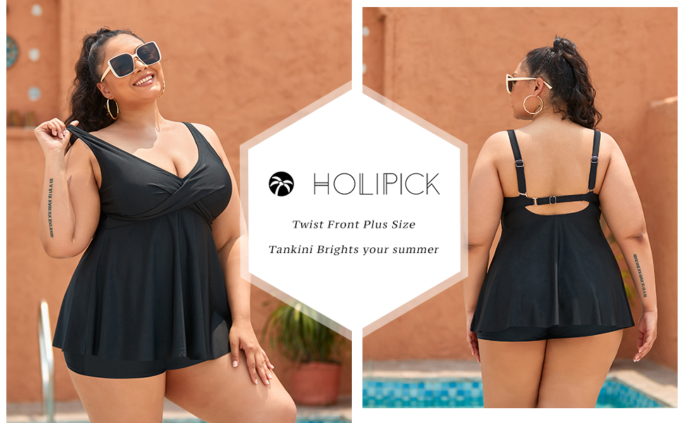 Holipick Twist Front Plus Size Tankini Swimsuits for Women Flowy Two Piece Bathing suits with Shorts