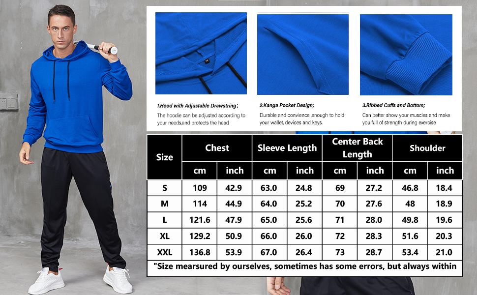 Babioboa Men's Hoodies Sweatshirts Fashion Gym Sweater Long Sleeve Athletic Pullovers