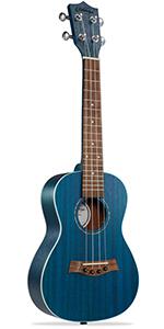 """blue Ashthorpe ukulele, 23"""" concert size, mahogany body and neck, walnut fret and bridge, 4 string"""
