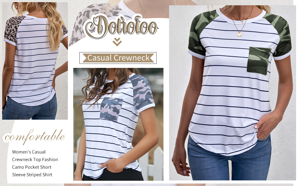 Women's Casual Crewneck Top Fashion Camo Pocket Short Sleeve Striped Shirt