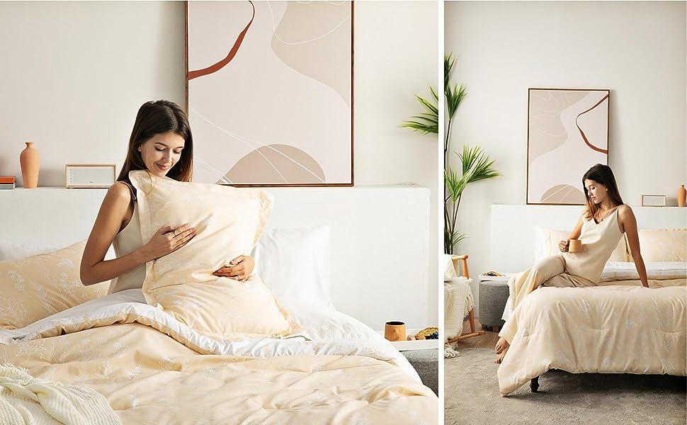 Bedsure Floral Comforter Set