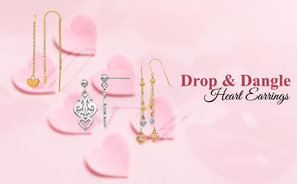 Drop and Dangle Heart Earrings