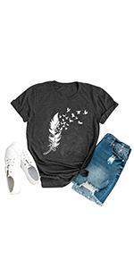 feather tshirt women