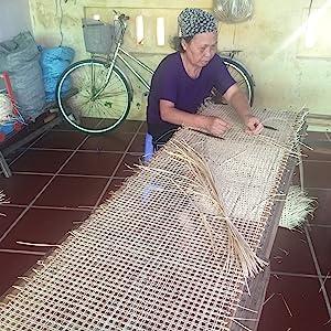 Cane webbing production