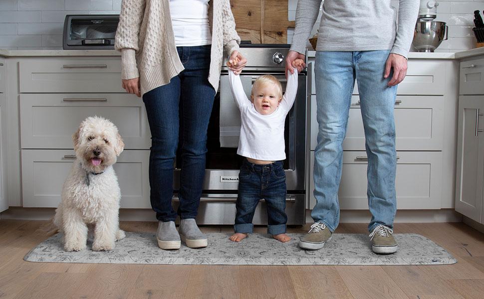 family, dog, anti fatigue mat