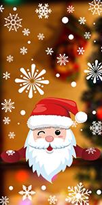 408Pcs Christmas Snowflake Window Clings Decals Santa Reindeer