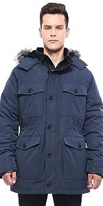 rokka and rolla mens thickened military winter parka coat jacket