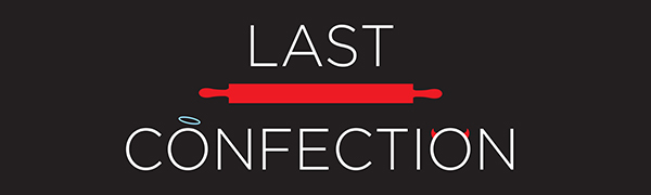 last confection logo, white text, red rolling pin, blue halo, red horns, black background