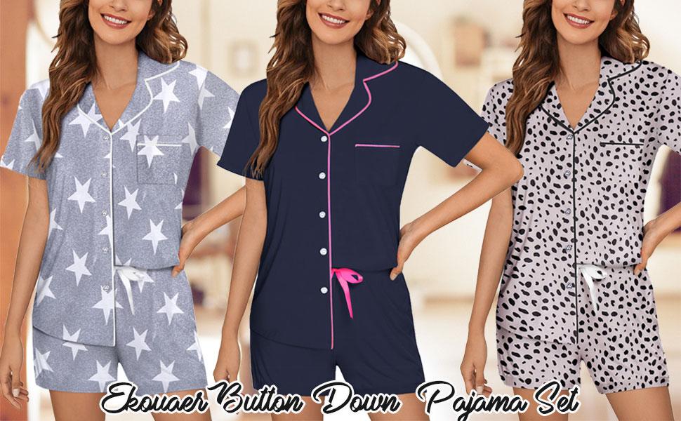 Ekouaer Pajamas Set Short Sleeve Sleepwear Womens Button Down Nightwear Soft Pj