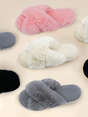 Details about  /Womens Fur Plush Slippers PU Leather Flats Loafers Winter Warm Mules Shoes Ying6