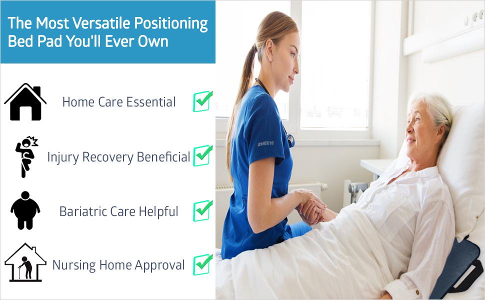 Multipurpose positioning bed pad versatile nursing home bariatric care