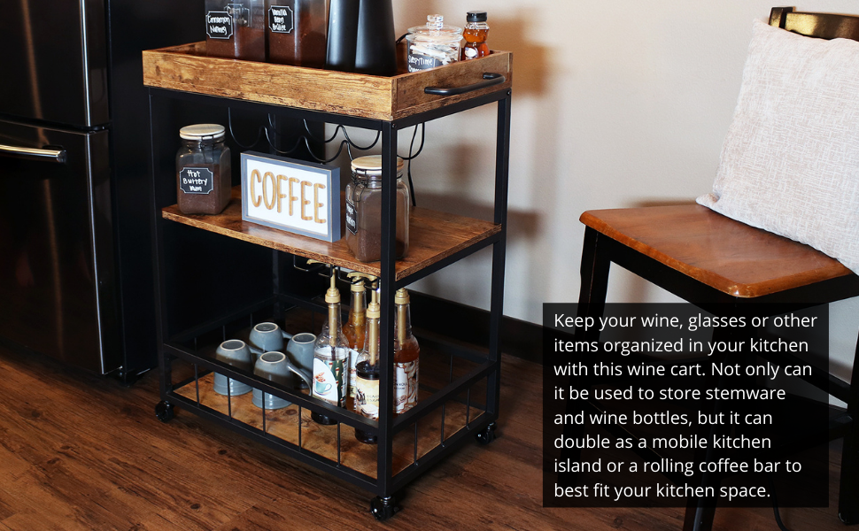 Keep your wine, glasses or other items organized in your kitchen with this wine cart.