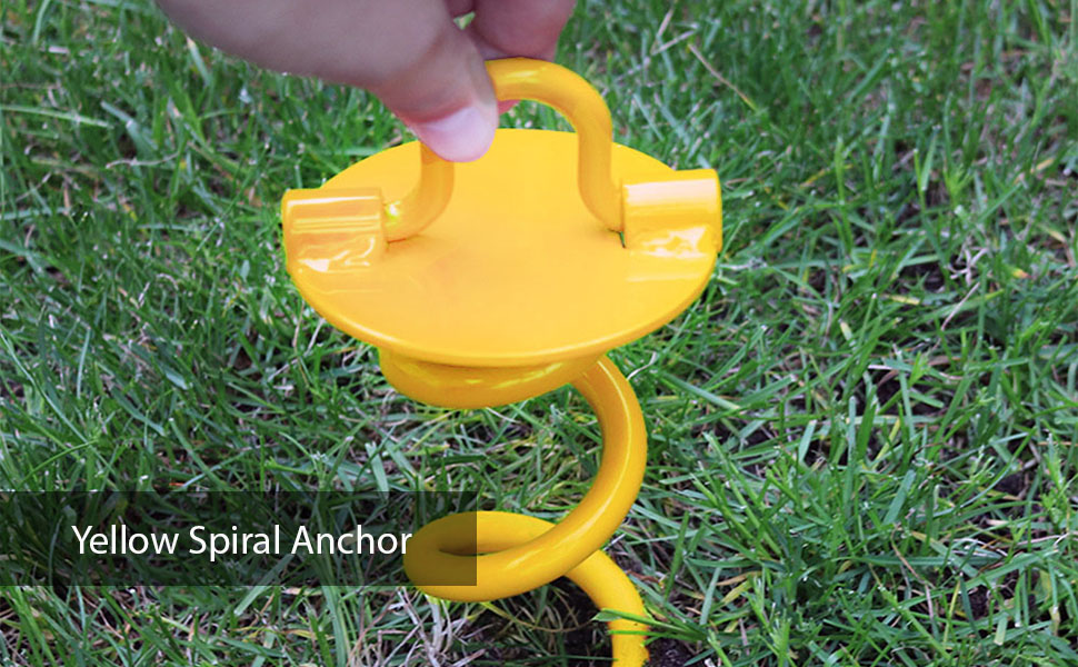 Sunnydaze Yellow Spiral Anchor for Tarps & Tents