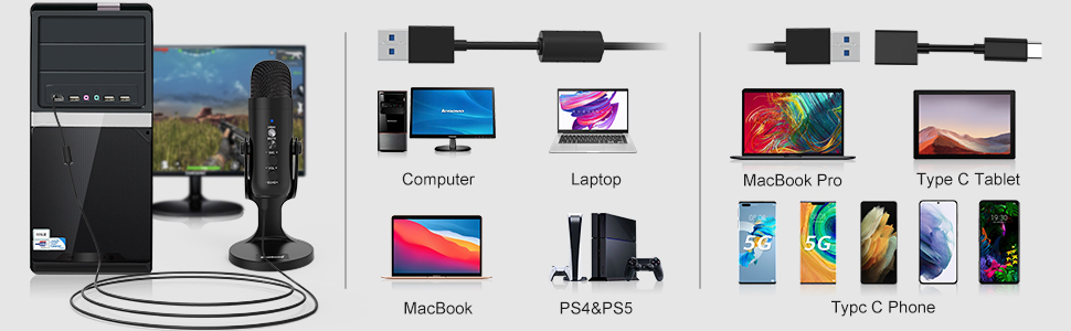 Work for pc computer macbook type c phone and tablet