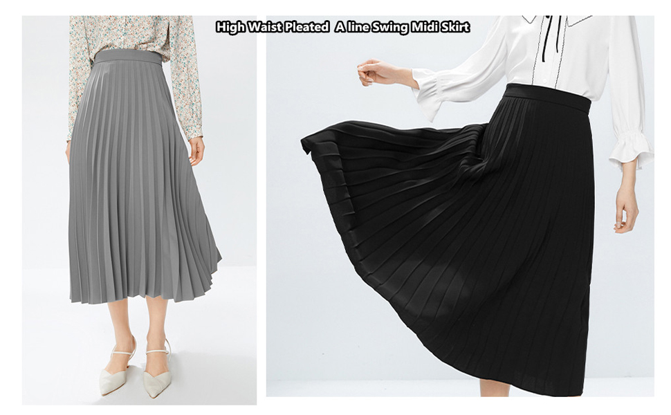 High Waist Pleated Skirt A line Swing Midi Skirt